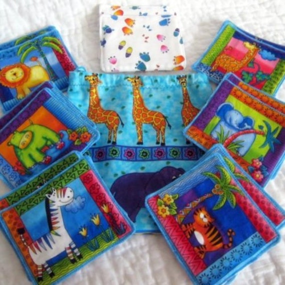 RESERVED - Jungle Memory Matching Game Fabric - Educational for Children