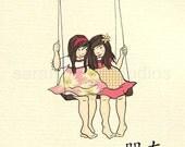 Children's Wall Art Print - Friends - Girl Kids Nursery Room Decor