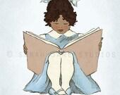 Children's Wall Art Print - Read With Me (Blue A) - Girl Kids Nursery Room Decor