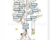 Children's Wall Art Print - Family Tree (Yellow) - 11x14 - Kids Nursery Room Decor