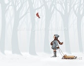 Children's Wall Art Print - Winter Cheer - Girl Kids Nursery Room Decor