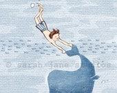 Children's Wall Art Print - Whale Dreams (Boy) - Boy Kids Nursery Room Decor