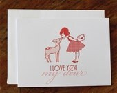 Single Card - I Love You My Dear - Greeting or Valentine's Card (Blank)