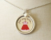 Necklace - Just Stay Little - With Pearl Charm