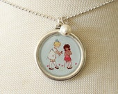Necklace - Playing Dolls - With Pearl Charm
