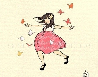 Children's Wall Art Print - Freedom - Girl Kids Nursery Room Decor
