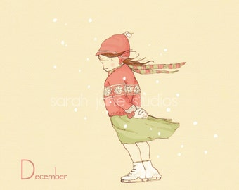 Children's Wall Art Print - December in my Favorite Sweater - 8x8 - Girl Kids Nursery Room Decor