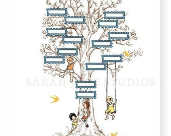 Children's Wall Art Print - Family Tree (Yellow) - 11x14 - Kids Nursery Room Decor