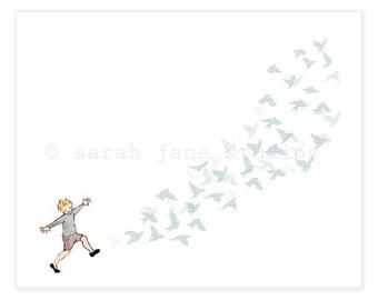 Children's Wall Art Print - Fly Away - Boy Kids Nursery Room Decor