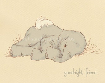 Children's Wall Art Print - Goodnight, Friend - Kids Nursery Room Decor