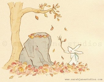 Children's Wall Art Print - Wellesley and Winslow, Autumn Leaves - Kids Nursery Room Decor
