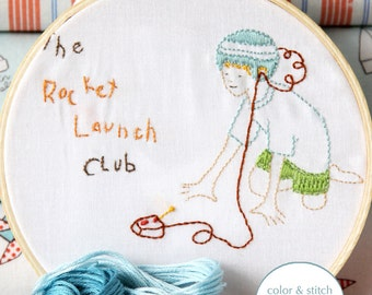 Embroidery Pattern PDF- Rocket Launch Club