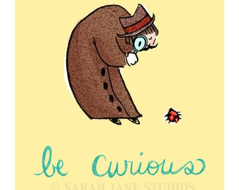 Children's Wall Art Print - Be Curious - Kids Nursery Room Decor
