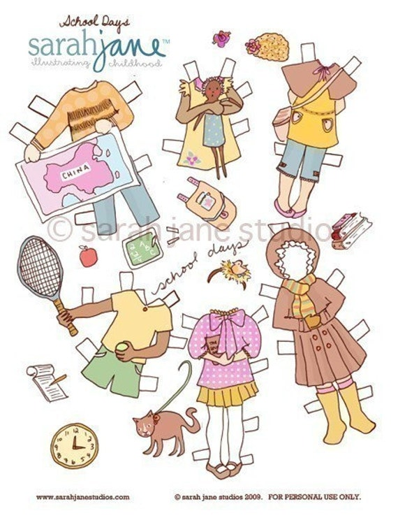 Paper Doll -School Days- Printable Download