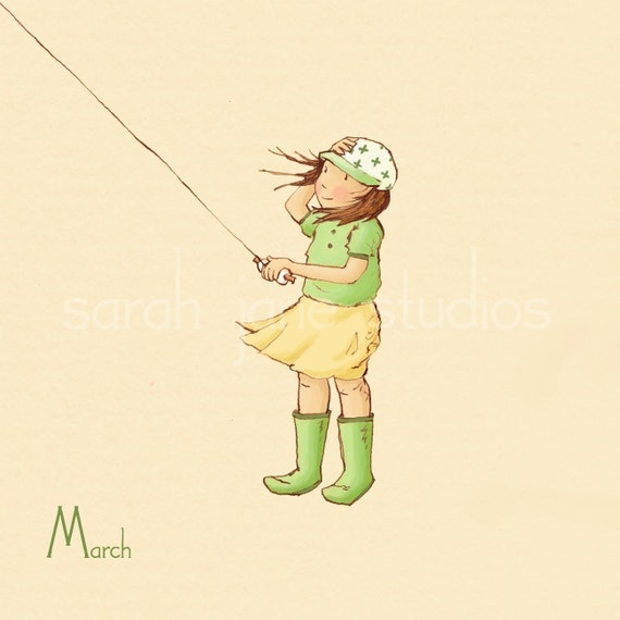 Children's Wall Art Print - March in the Wind - 8x8 - Girl Kids Nursery Room Decor
