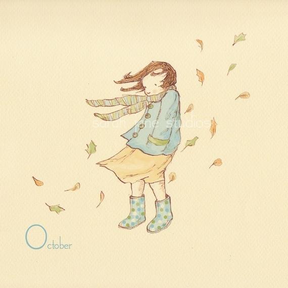 Children's Wall Art Print - October In Polka-dot Wellies - 8x8 - Girl Kids Nursery Room Decor