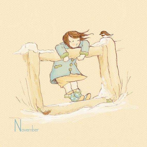Children's Wall Art Print - November's Friend - 8x8 - Girl Kids Nursery Room Decor
