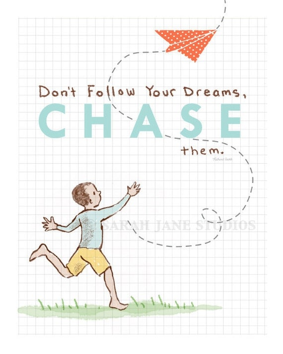 Children's Wall Art Print - Chase Your Dreams - Boy Kids Nursery Room Decor