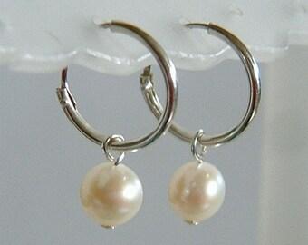 Simple Everyday Swinging Freshwater Cream White Pearl Sterling Silver Hoop Earrings
