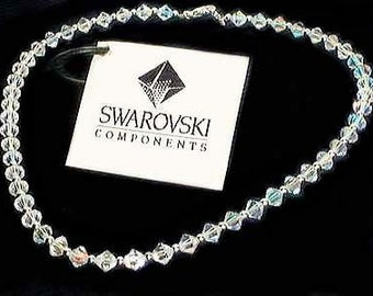 Clear Simple Swarovski Crystal Bridal Wedding Sterling Silver Necklace Jewelry Bridesmaid Best Friend Birthday Gift