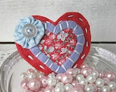 RESERVED FOR JENNIFER Vintage Style Heart Hair Clip - Floral, Red and Periwinkle - Hand sewn,  Woman, Snap clip, Yoyo, pretty, Felt, button