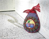 Plum Fruit Necklace, Hand sewn felt and fabric pendant, Purple and Red, Summer,  jewelry