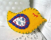 RESERVED FOR MICHELLE Bright, Yellow and blue, Bird Brooch - Handsewn felt and fabric, colorful, floral Pin
