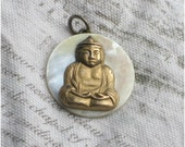 Buddha pendant on antique mother of pearl button FREE SHIPPING