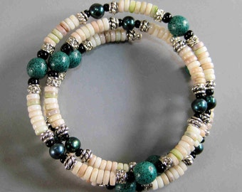 Pearl and Heishi Shell  Bracelet