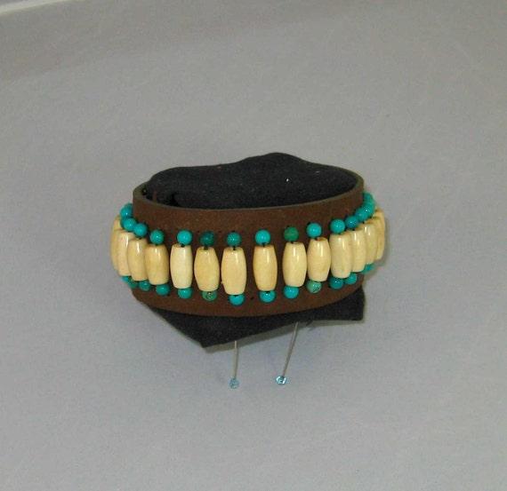 Native American Beaded Leather Bracelet