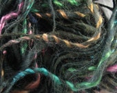 funky forest wrapped in mohair -handspun yarn