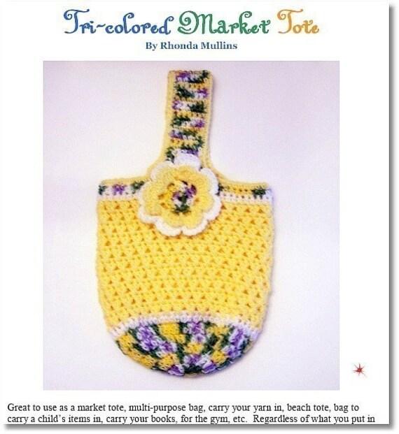 Crochet PATTERN for Tri-Color Market Tote - Multi-purpose Bag in PDF format -  over 60 pics (ref 101)