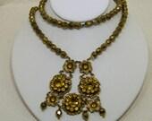 Early Czech Citrine Amber Glass & Brass Art Nouveau Festoon Necklace