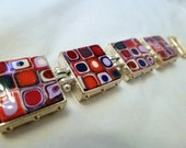 Purple pink polymer clay squares and circles bracelet