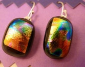 Rainbow on a black background dichroic fused glass earrings