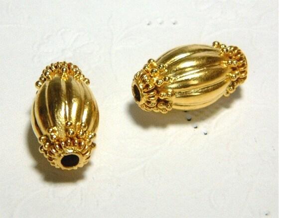 Pair of Bali Handmade Vermeil Cylinder Beads 19mm long