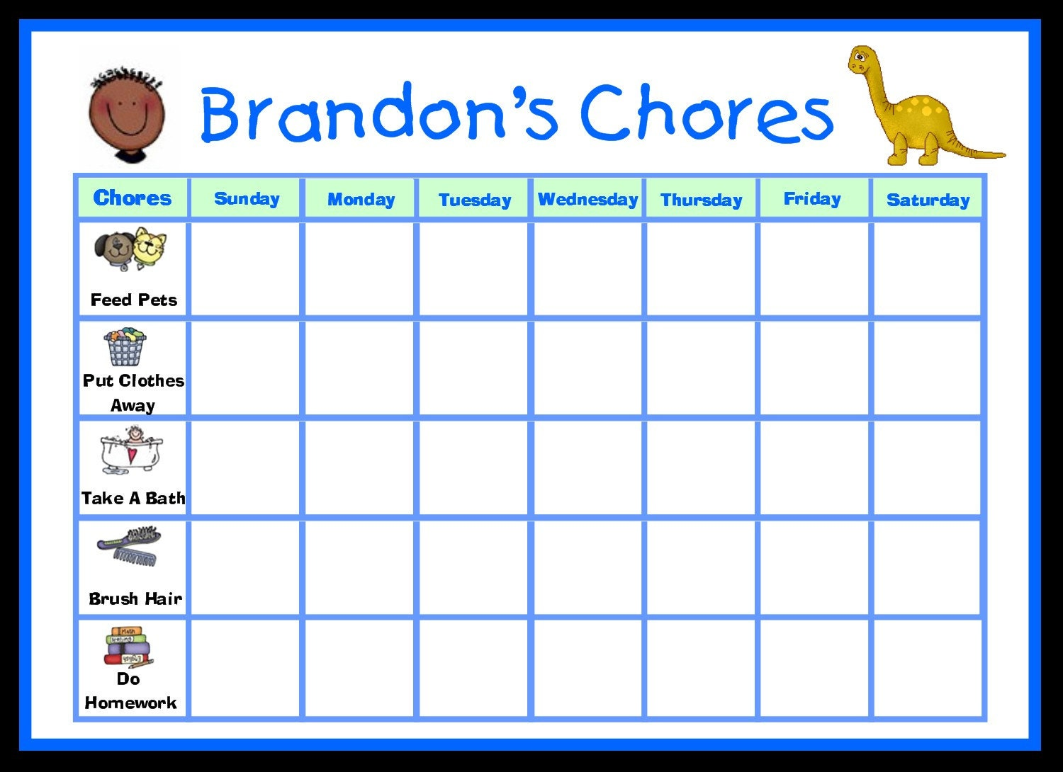 Childrens Printable Pictures Create Your Own Chore Chart K