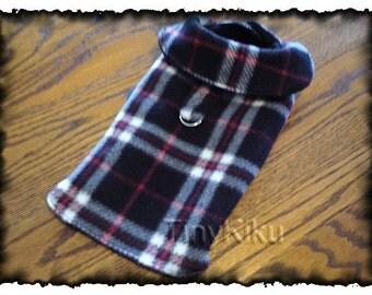 BLACK PLAID wVELCRO Neck and Belt Style D-Ring Dog Coat Jacket xxxs-xxs-xs-s-m-l Double Layer Fleece