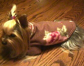 Lt. Brown VINTAGE ROSES Fleece Dog Coat/Sweater  xxxs, xxs, xs, s, m ,l,  YORKIE
