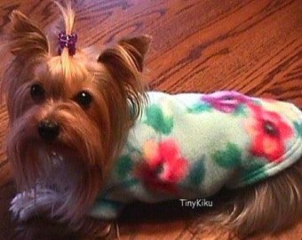 ANEMONE FLORAL FLEECE Dog Coat/Sweater  (xxxs-xxs-xs-s-m-l)