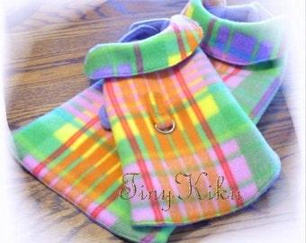 Pink Multi-Colored PLAID REVERSIBLE wVELCRO Style D-Ring Dog Coat Jacket xxxs-xxs-xs-s-m-l