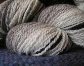 143g (5oz) 336 yards handspun wool yarn, breed gradient double knit