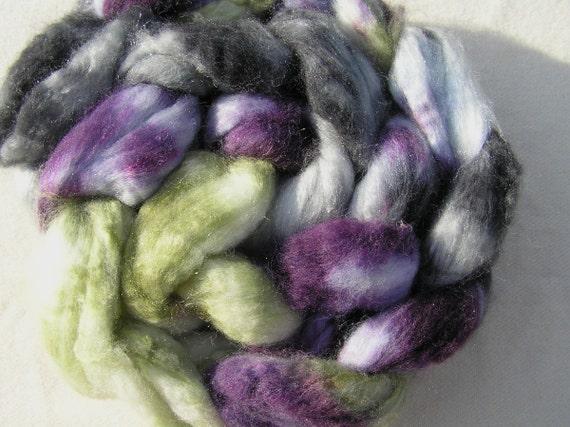 138g (4.8oz) superwash merino and bright trilobal nylon top, purple, green. grey