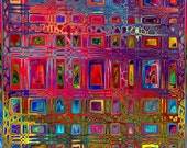 Quilting Fabric By The Yard Artist Made Geometric Fiber Art Cotton Fushia Jeweltones