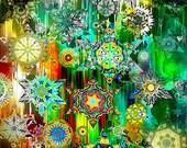 Quilting Artist Fabric Large Panel Star Green Kaleidoscope Fiber Art Decor