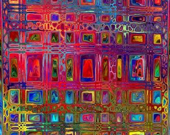 ART Quilting Fabric Panel Artist Made Geometric Fiber Art Mixed Media Fabric Jeweltones