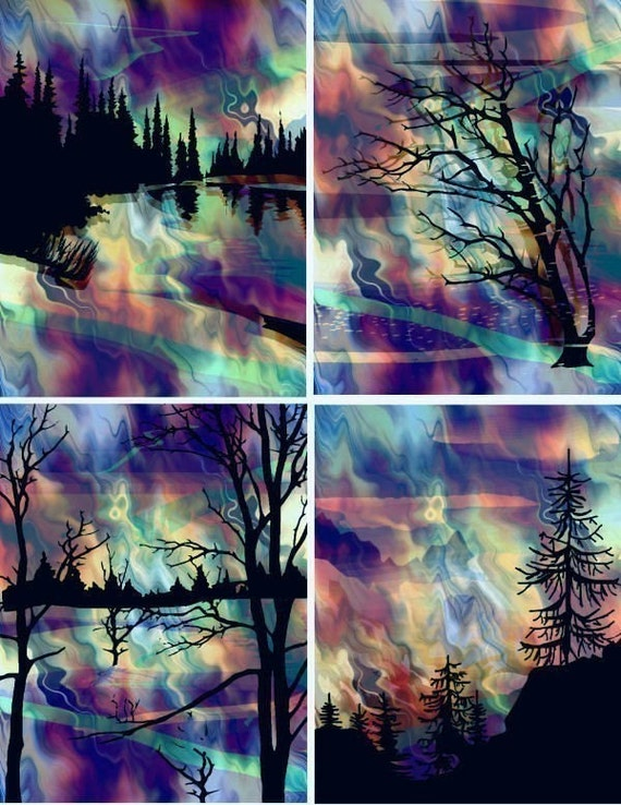Northern Lights Fabric : Unique cotton fabric art prints northern lights forest