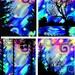 Artist Made Fabric 4 Panels Blue Moon Sky  Aurora Boreali Landscape College Fiber Art