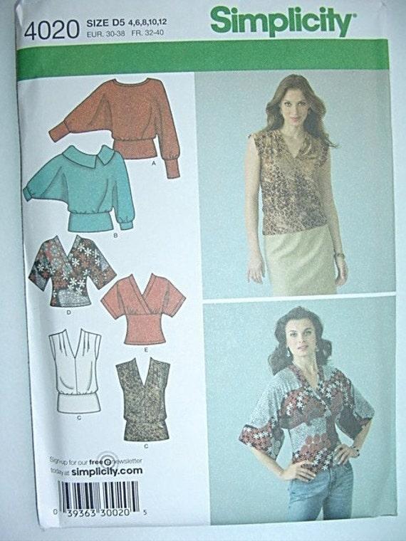 Misses Kimono Batwing Sleeve Tunic Top Sewing Pattern
