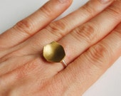 Brass  and sterling silver faceted shape ring
